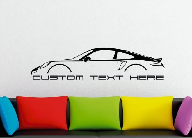 Large Custom car silhouette wall sticker - for Porsche 911 Turbo, 991 (2012+)